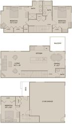 3 bed 2.5 Bath 1557 square feet floor plan F